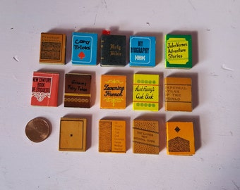 Miniature Dollhouse Books Paper and Wood Popular Titles Library Study School Bible Almanac French Cookbook Fairy Tale 1:12 Scale FS