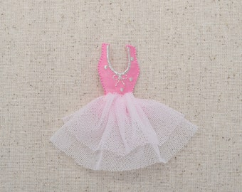 Pink Dress - Ballet Tutu - Iron on Applique - Embroidered Patch - 693745-A