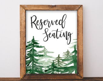 Reserved Seating Sign Wedding - Printable Reserved Sign - Rustic Mountain Wedding - Reserved Seat - Reserved Chair Sign - Winter Wedding