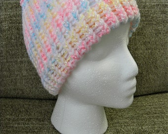 Soft White, Pink, Blue, and Yellow Shimmery Child's Knit Hat