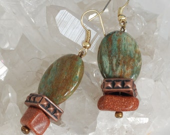 Earings Goldstone and Jasper