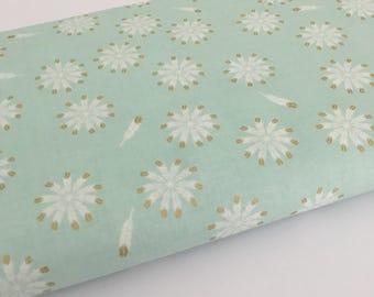 Safari Feathers, Mint with Sparkle - Riley Blake Safari Party fabric Collection.