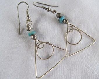 Turquoise Sterling Silver Dangle Earrings Abstract Gypsy Hippie Earrings Sterling Silver Turquoise Dangle Earrings Vintage Turquoise Jewelry
