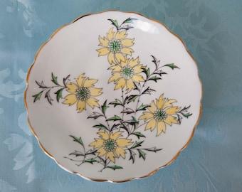 Rosina Saucer, Bone China Saucer, Vintage Saucer, England 4-899, Tea Party Saucer Plate, Yellow Floral