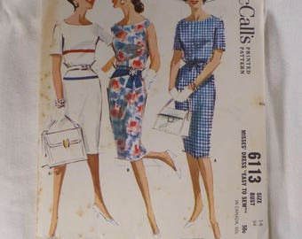 "Vintage McCall's Sewing Slim Dress Pattern, 6113, with or without Sleeves, from 1961.  Cut and counted, VG condition, Size 14, 34"" Bust"