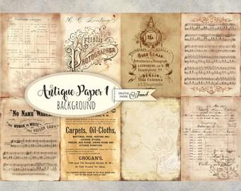 Antique Paper 1 - background cards - digital collage sheet - set of 8 - Printable Download