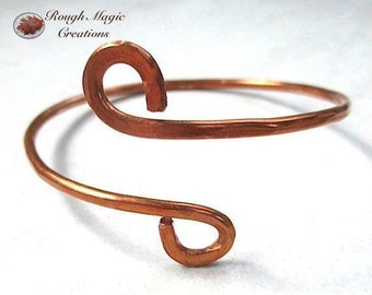 Minimalist Cuff Copper Bracelet, Simple Rustic Cuff, Hammered Metal, 7th Anniversary Dreamy Gift for Women, Mens Jewelry, Present for Couple