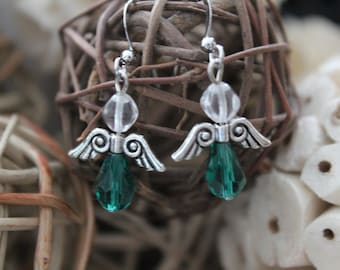 Angels earrings, protection, believe, argent, turquoise, pearl, stainless