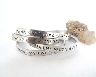 Inspirational Bracelet, Your Message, Personalized Cuff Bracelet, Gift Idea, Quote Bracelet, Hand Stamped Message Bracelet, Metal cuff
