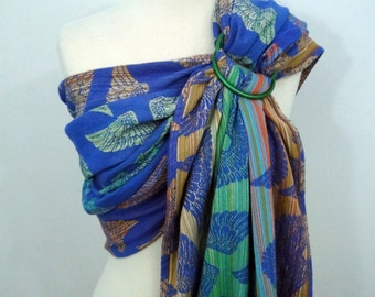 Pellicano - Euriell Blue wrap conversion ring sling, 100% Cotton - WCRS - Green, blue, orange, yellow