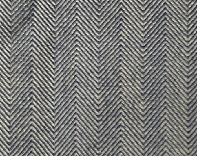 Herringbone Denim Fabric Blue Cotton By the Yard Indigo Blue Striped Upholstery Slipcovers Apparel Bags