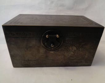 Chinese engraved metal storage box