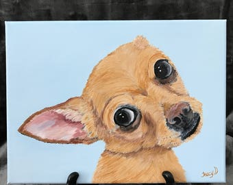 chihuahua painting canvas art chihuahua owner gift christmas birthday holiday chihuahua decor painting of a chihuahua portrait small dog art