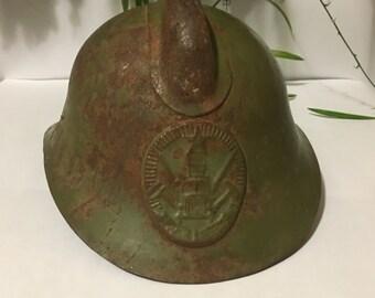 Old firefighter helmet, vintage firefighter helmet, fireman helmet, metal helmet, steampunk helmet, soviet fireman helmet, military helmet