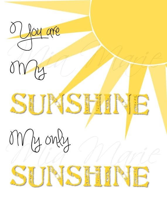 You Are My Sunshine Digital Printable Wall Art Nursery
