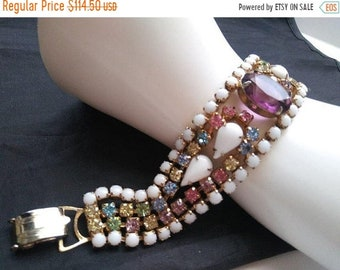 ON SALE Vintage Pink Blue White Purple Rhinestone Bracelet, 1950's 1960's Old Hollywood Glamour Style Chunky Wide High End Rare Jewelry