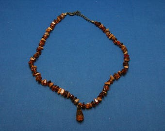 Vintage Amber And Stone Chip Beaded Adjustable Necklace With Amber Briolette Drop Pendant