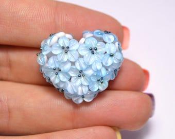 flower lampwork wedding jewelry making heart bead something blue romantic pendant handmade blue flower bead artisan lampwork floral glass