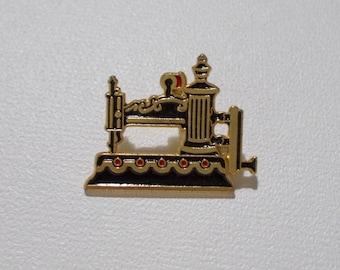 Clotilde Sewing Machine Pin #9 Goldtone Enamel Globe 1854 Replica Collector Lapel Tack 1990s