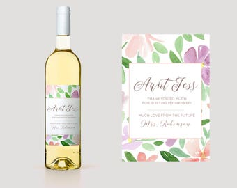 Hostess Thank You Wine Label. Custom Thank You Wine Label. Hostess Wine Label. Hostess Thank You Wine Label. Bridal Shower Thank You. TY15