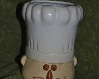 Vintage Chef's Head Hat Utensil Crock Holder Kitchen Decor