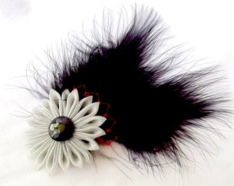 Black Feather Fascinator with Red Birdcage Netting and Gray Organza Kanzashi Flower Hair Clip