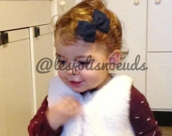 Kids hair clip or headband for baby Navy blue bow