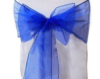 Royal Blue Organza Chair Sash Bow Wedding Venue Decoration