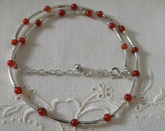 Sterling Silver and Carnelian Necklace - 16 inch