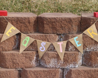Easter Banner.Easter Garland.Easter Party Decor.Easter Home Decor.Easter Burlap Banner.Easter Burlap Garland.Easter Photo Prop.
