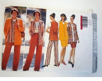 Long vest / 90s suit / vest / elastic waist pants /jacket/ skirt/ easy / 1996 Sewing Pattern, Bust 36 38 40, Size 14 16 18, Butterick 4344