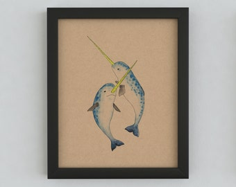 Winter Narwhals Print