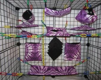 15  Pc  -  Purple Tie Dye - Sugar Glider Cage Set