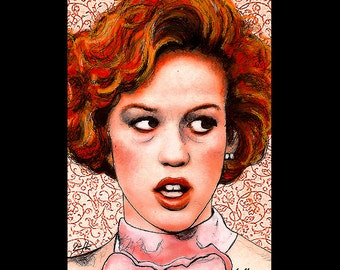 """Print 11x17"""" - Pretty in Pink - Andie Walsh Molly Ringwald John Hughes 80s Duckie Dale The Breakfast Club 16 Candles Red Vintage Pop Art"""