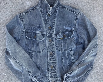 Lee Jeans Vintage Distressed Light Gray Abraded Denim Jean Jacket Size S/M