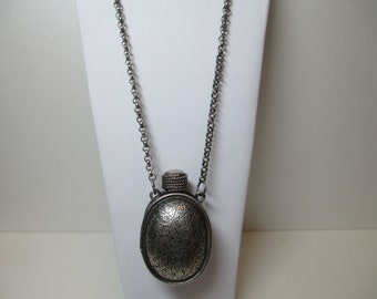 """Vintage Silver Tone Etched Perfume Bottle 36"""" Necklace - Estate Jewelry #8822"""