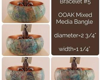 OOAK Art Bracelet #5- Mixed Media Bangle