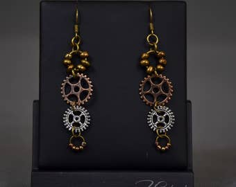 Handmade copper steampunk earrings with gears - Agnes