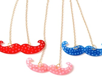 Moustache necklace - Red, Pink or Blue with White Polka Dots - donation to Dr Hadwen Trust Charity