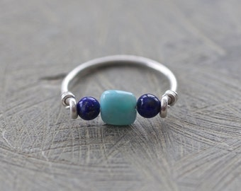 Lapis Lazuli, Larimar, and Sterling Silver Ring, size 7.5