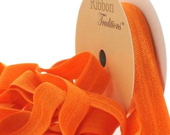 "5/8"" Fold Over Elastic (FOE) Ribbon 749 Orange 3yd"