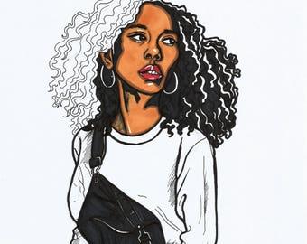 Girl Wearing Overalls -PRINTABLE ART- Digital Art Print- Portrait Illustration- Fashion Illustration- Fashion Art Print- Black Women Art