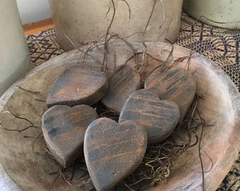 """Blackened Beeswax """"Wooden"""" Heart Bowl Fillers #114"""