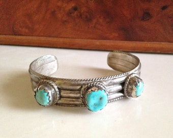 Sale Native American Turquoise and Sterling Silver Navajo Cuff Bracelet USA Free Shipping