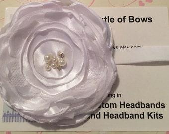 Baptism Headband / Wedding Headband / Flower Girl Headband