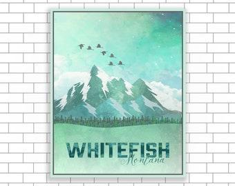 Whitefish Montana, Watercolor, Illustration, Wall Art, Home Decor, Watercolor Print, Canvas Print, Canvas Home Decor, Picture of Whitefish