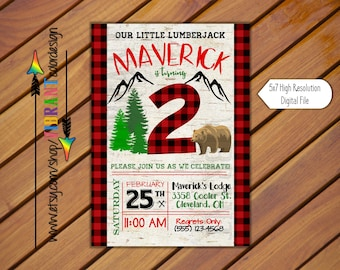 Lumberjack Birthday Invitation, Adventure Birthday Invitation, Outdoors Birthday Invite