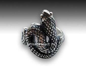 Sterling silver ring, snake ring, two tones ring, oxidized snake ring, snake band, animal ring, long snake ring, silver ring - Eden R2072