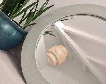 Round Grasscloth Mirror