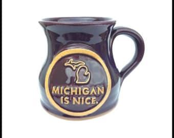 Michigan Is Nice Brown Pottery Coffee Mug